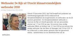 klimaatvriendelijkste wethouder 2010
